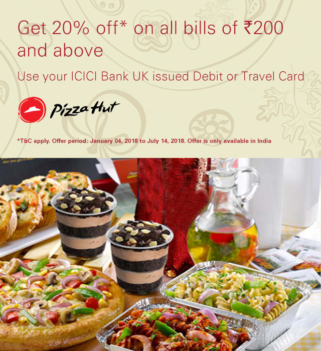 Get 20% off at Pizza Hut in India